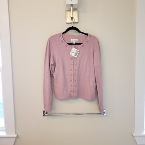 Lilac button-down cardigan with sequins